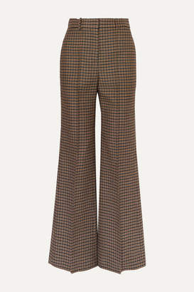 Victoria Beckham Checked Wool Wide-leg Pants - Brown