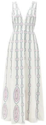Le Sirenuse Positano Le Sirenuse, Positano - Nellie Bubble Gum V-neck Cotton Maxi Dress - White Multi