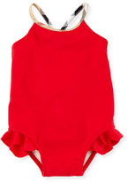 Burberry Lundy Ruffle-Trim Cross-Back Swimsuit, Poppy Red, Size 6M-3