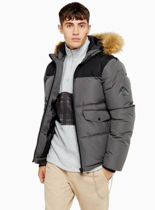 TopmanTopman Grey Faux Fur Hooded Puffer Jacket