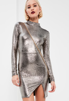 Missguided Silver Mock Wrap Metallic Dress