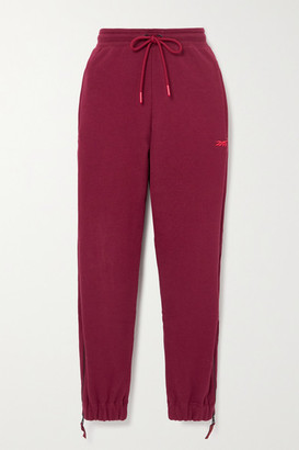 Reebok x Victoria Beckham Embroidered Cotton-jersey Track Pants - Burgundy