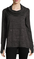 Neiman Marcus Long-Sleeve Cowl-Neck Top, Black/Gray