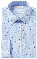 Roundtree & Yorke Gold Label Non-Iron Slim-Fit Spread Collar Gingham Paisley Print Dress Shirt