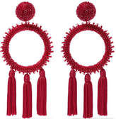 Oscar de la Renta Tasseled Beaded Clip Earrings - Burgundy