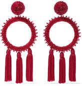 Oscar de la Renta Tasseled Beaded Clip Earrings - one size