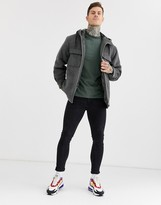 Asos Design DESIGN jacket in wool mix with gray faux fur lining