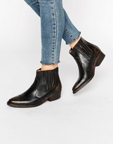 Selected Type Black Distressed Leather Western Ankle Boots