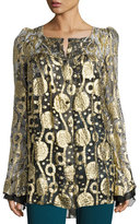 Roberto Cavalli Glitter Chiffon Bell-Sleeve Blouse, Gold