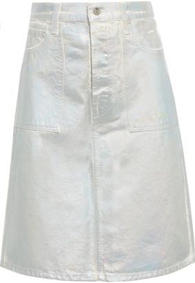 Helmut Lang Factory Iridescent Coated-denim Skirt