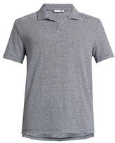 Onia Shaun striped linen-blend polo shirt