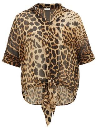 Saint Laurent Leopard-print Silk-chiffon Shirt - Black Brown