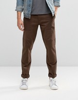 Asos Slim Cotton Pants In Dark Brown