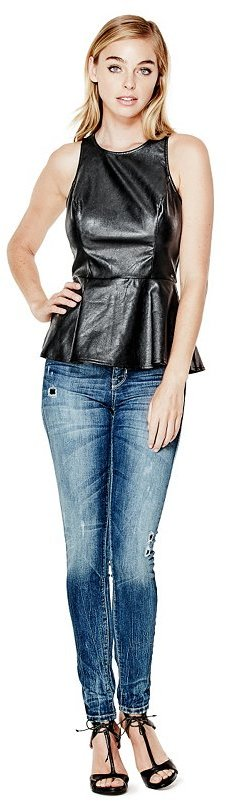 GUESS Faux-Leather and Ponte Peplum Top
