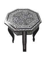 Generic W90 Mother Of Pearl Moroccan Corner Wood Octagonal Table Arabesque End Coffee