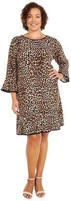 MICHAEL Michael Kors Size Cheetah Flounce Dress (Dark Camel) Women's Dress
