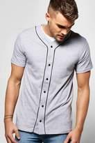boohoo Jersey Baseball T-Shirt With Piping grey marl