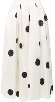 Christopher Kane Polka-dot Cotton-blend Charmeuse Midi Skirt - Womens - White Black