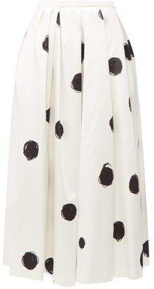 Christopher Kane Polka-dot Cotton-blend Charmeuse Midi Skirt - White Black
