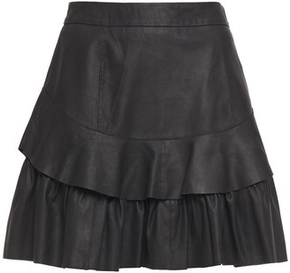 Walter Baker Marni Tiered Leather Mini Skirt