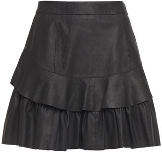 Walter Baker Tiered Matte-leather Mini Skirt