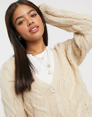 ASOS DESIGN co-ord cable cardigan in oatmeal