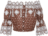 Miguelina Embroidered Polka-Dot Cotton Cropped Top