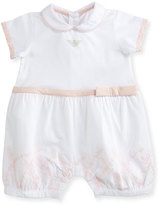 Armani Junior Collared Lace-Trim Bubble Playsuit, Pink/White, Size 3-12 Months