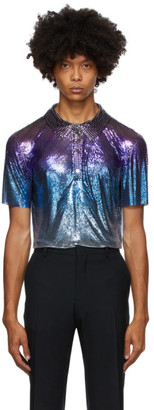 Paco Rabanne Purple and Blue Degraded Chainmail Short Sleeve Shirt