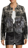 Adrienne Landau Fox Fur-Trimmed Printed Jacket