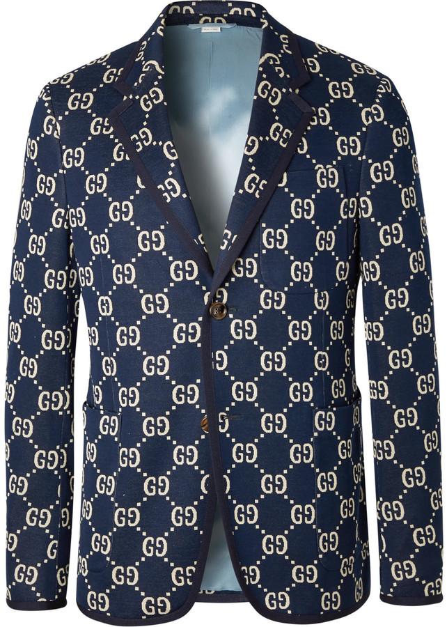Gucci Navy Logo-Jacquard Cotton Blazer
