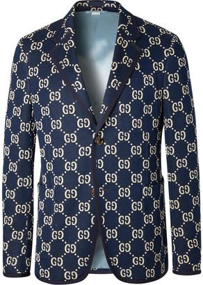 Gucci Navy Logo-Jacquard Cotton Blazer - Men - Blue
