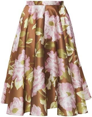 Rochas Flared Floral-print Satin Skirt