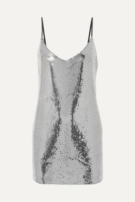 RtA Bijoux Sequined Crepe De Chine Mini Dress - Silver