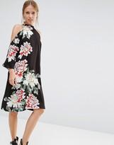 Liquorish Floral Printed Cold Shoulder Knee Length Dress