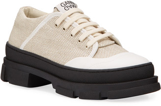 Ganni Hybrid Canvas Lace-Up Sneakers