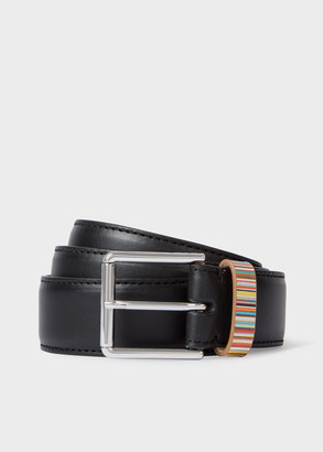 Paul Smith Men's Black Leather Belt With 'Signature Stripe' Keeper