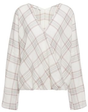 Vince Wrap-effect Checked Cotton-blend Flannel Top