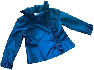 Teri Jon Blue Silk Jacket for Women