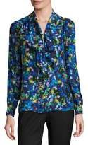 Milly Long-Sleeve Jewel-Print Satin Chiffon Tie-Neck Blouse, Multi