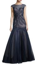 Rickie Freeman For Teri Jon Cap-Sleeve Beaded Floral Mermaid Gown