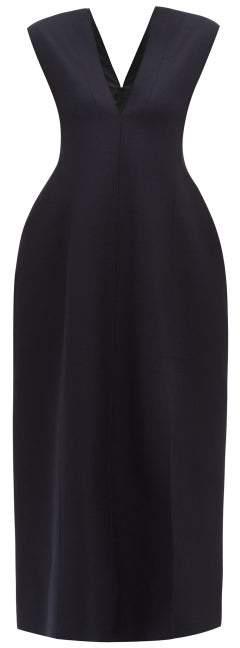 Jil Sander Lilac V Neck Felted Wool Blend Maxi Dress - Womens - Navy