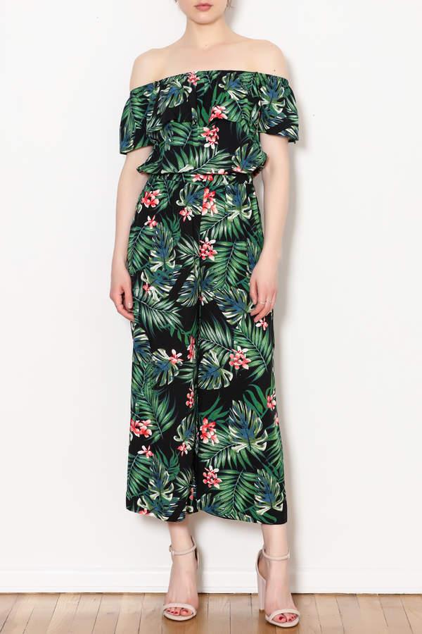 Blu Pepper Tropical Print Jumpsuit