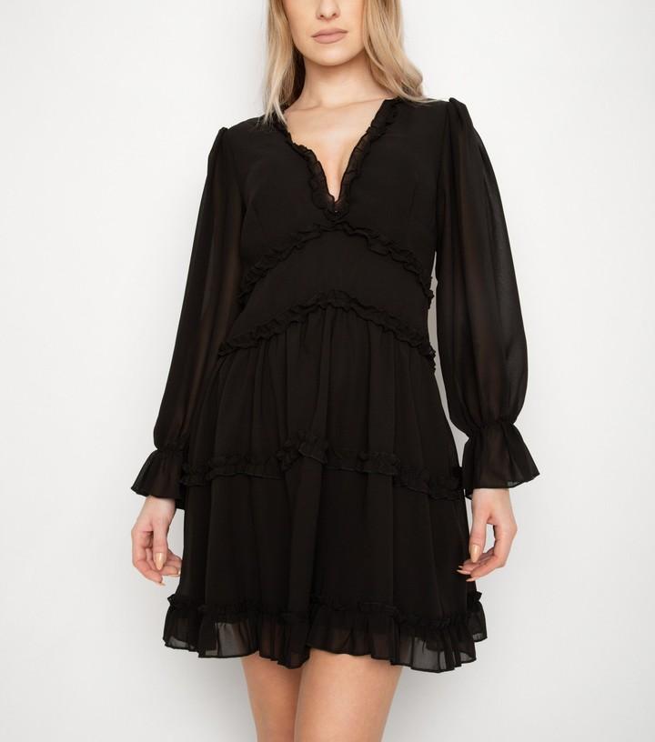 New Look Port Boutique Chiffon Frill Mini Dress
