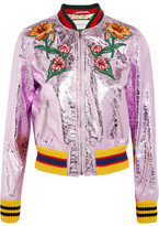 Gucci Appliquéd Metallic Textured-leather Bomber Jacket - Lilac