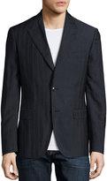 Versace Two-Button Pinstripe Blazer, Navy