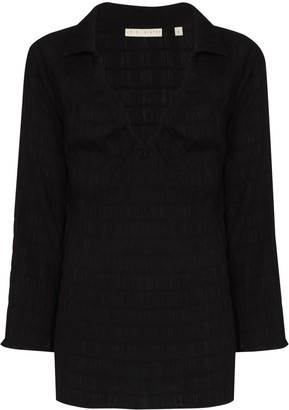 USISI SISTER V-neck ruffled blouse