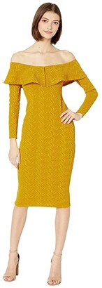 BCBGeneration Off-the-Shoulder Bodycon Dress TRZ6269513 (Sunflower) Women's Clothing