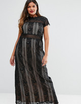 Truly You Panelled Lace Maxi Dress With Cap Sleeve