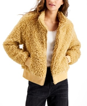 Say What Juniors' Faux-Sherpa Zip-Up Jacket